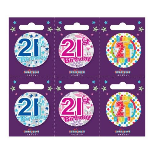 Age 21 Small Badges (6 assorted per perforated card) (5.5cm)